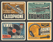 istock Trumpets, retro vinyl records, mic and saxophone 1192653729