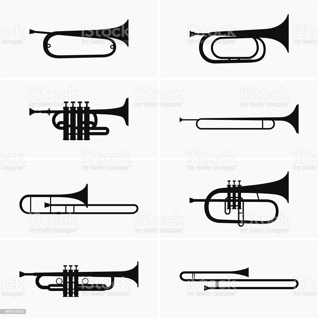 Trumpets vector art illustration
