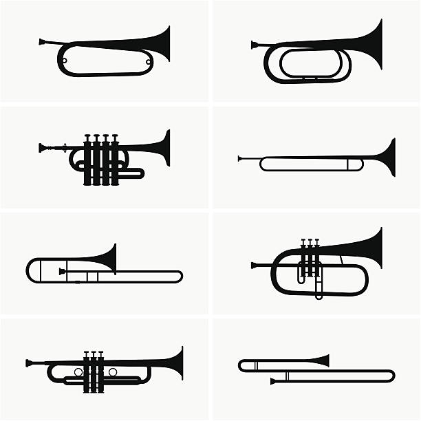 stockillustraties, clipart, cartoons en iconen met trumpets - blaasinstrument
