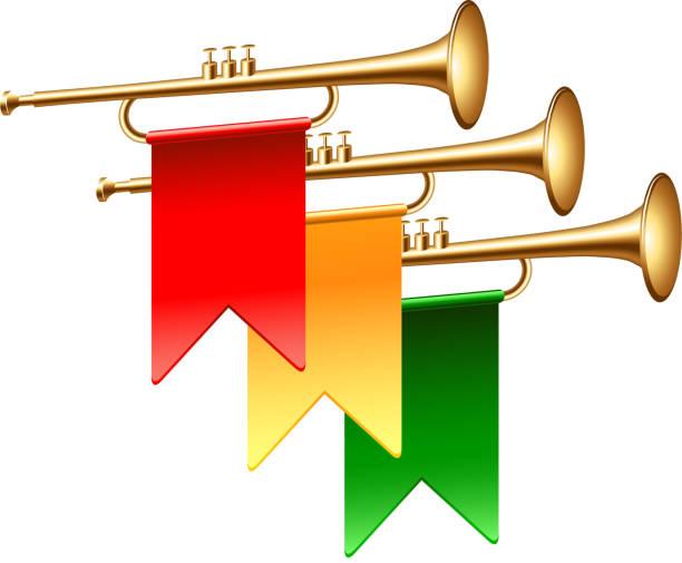 trompeten mit bunten fahnen, die auf weißem vektor isoliert sind - fanfare stock-grafiken, -clipart, -cartoons und -symbole