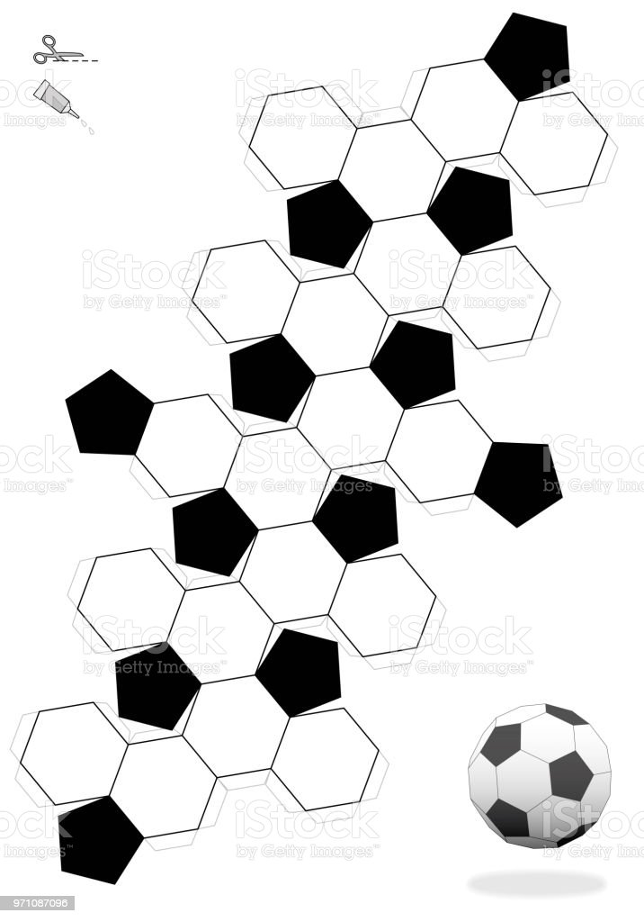 truncated icosahedron soccer ball template for making a 3d object