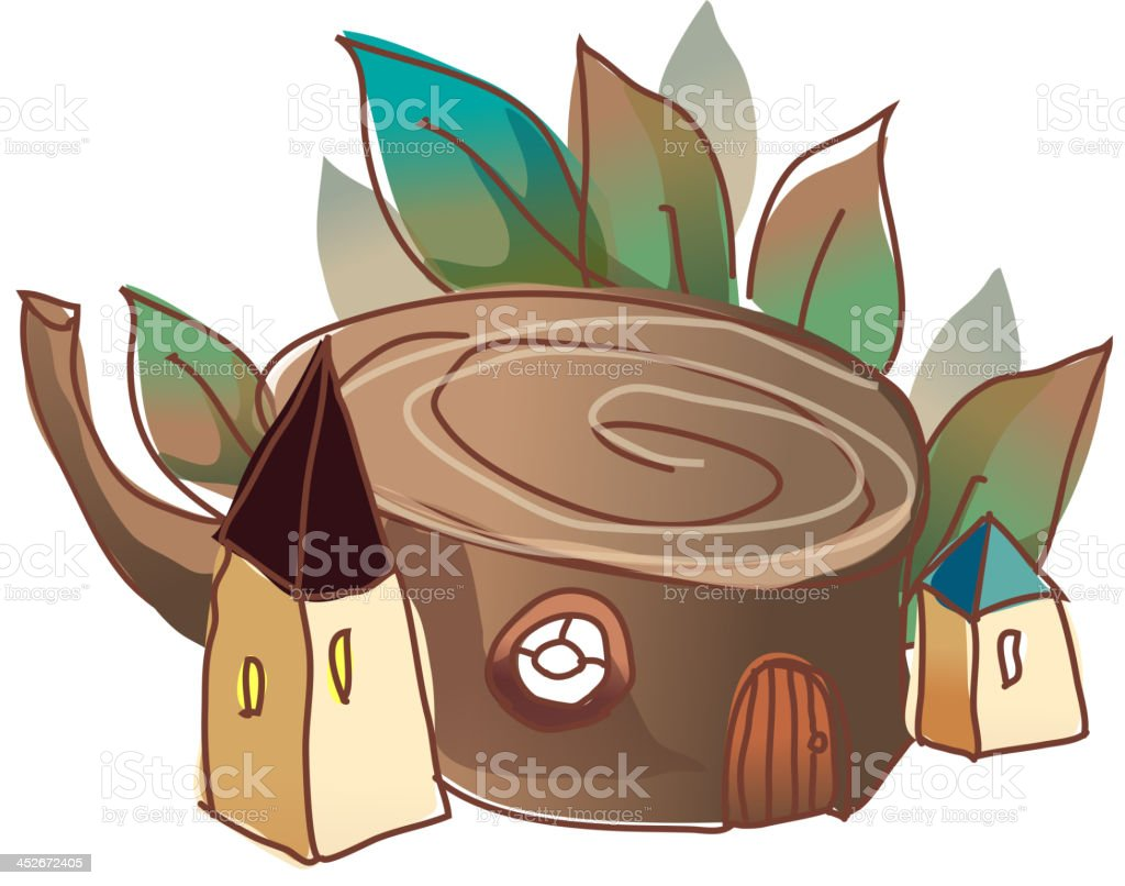 Trunk with leaf royalty-free stock vector art