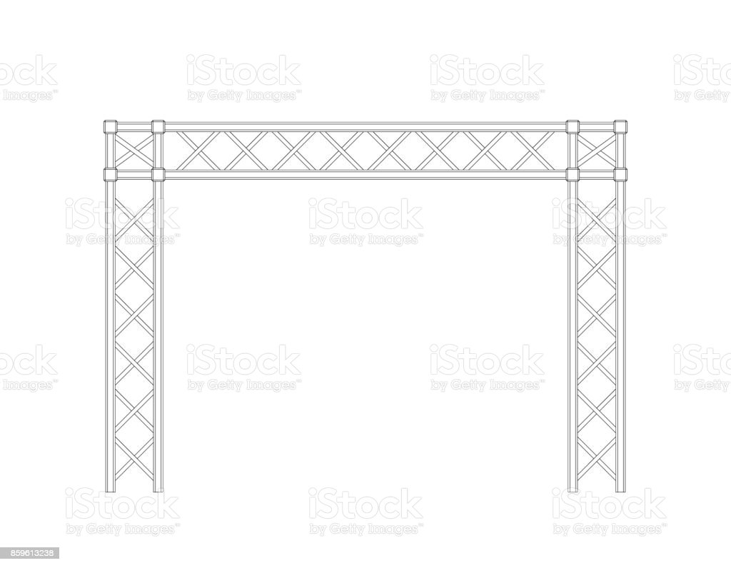 Truss construction. Isolated on white background. Vector outline illustration.