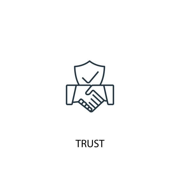 vertrauen sie auf konzept-line-icon. einfache element-illustration. vertrauen konzept skizziert symboldesign. kann für web und mobile ui/ux verwendet werden - trust stock-grafiken, -clipart, -cartoons und -symbole