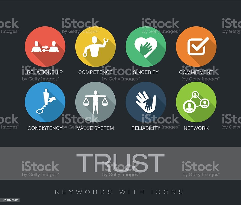 Trust keywords with icons vector art illustration