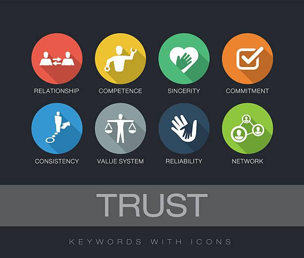 trust keywords with icons - trust stock-grafiken, -clipart, -cartoons und -symbole