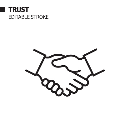 Trust Line Icon, Outline Vector Symbol Illustration. Pixel Perfect, Editable Stroke.
