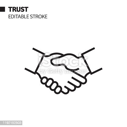 istock Trust Line Icon, Outline Vector Symbol Illustration. Pixel Perfect, Editable Stroke. 1192152503