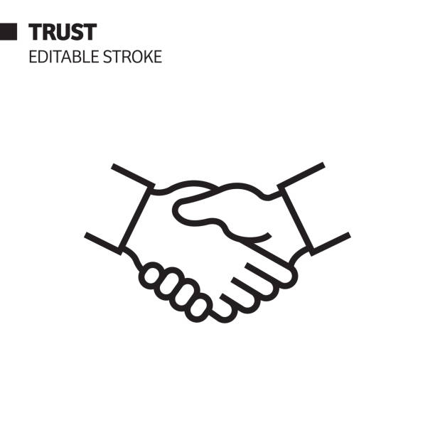 vertrauensliniensymbol, umriss-vektor-symbol-illustration. pixel perfekt, editierbarer strich. - trust stock-grafiken, -clipart, -cartoons und -symbole