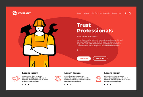 Trust professionals support builder repair service website landing page design template. Man husband for hour worker in helmet with wrench and hammer. Ordering labor master vector illustration