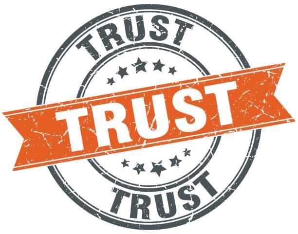vertrauen rund grunge band stempel - trust stock-grafiken, -clipart, -cartoons und -symbole