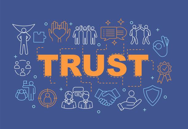 vertrauenswortkonzepte banner - trust stock-grafiken, -clipart, -cartoons und -symbole