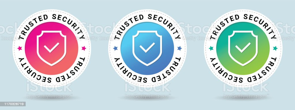 Trusted Security stamp vector illustration. Vector certificate icon. Set of 3 beautiful color gradients. Vector combination for certificate in flat style. - Royalty-free Armadura tradicional arte vetorial