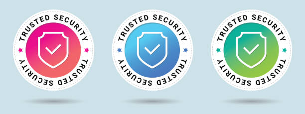 ilustracja wektora znaczka trusted security. ikona certyfikatu wektorowego. zestaw 3 pięknych gradientów kolorów. kombinacja wektorowa dla certyfikatu w stylu płaskim. - przypinka stock illustrations