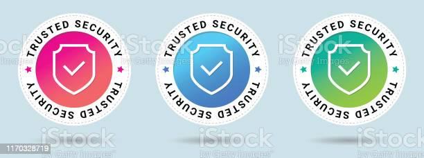 Trusted Security Stamp Vector Illustration Vector Certificate Icon Set Of 3 Beautiful Color Gradients Vector Combination For Certificate In Flat Style - Arte vetorial de stock e mais imagens de Armadura tradicional