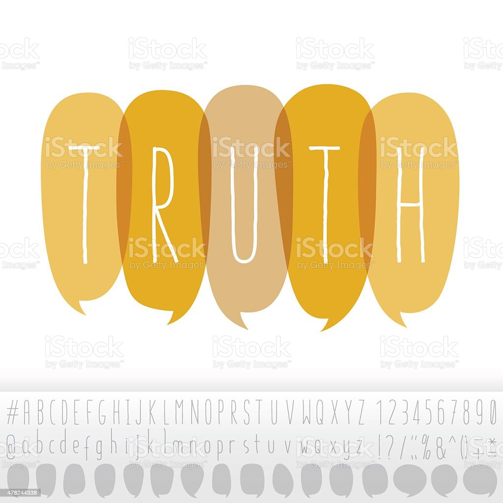 Truth Text In Speech Bubbles With Alphabet Design Set vector art illustration