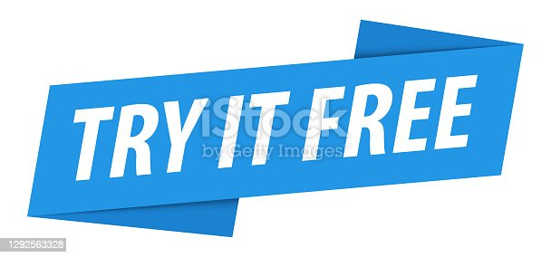 Try It Free - Banner, Speech Bubble, Label, Ribbon Template. Vector Stock Illustration