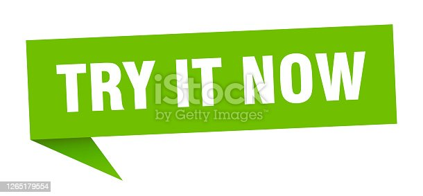 try it now banner. try it now speech bubble. try it now sign