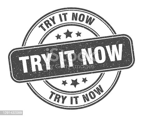 try it now stamp. try it now sign. round grunge label