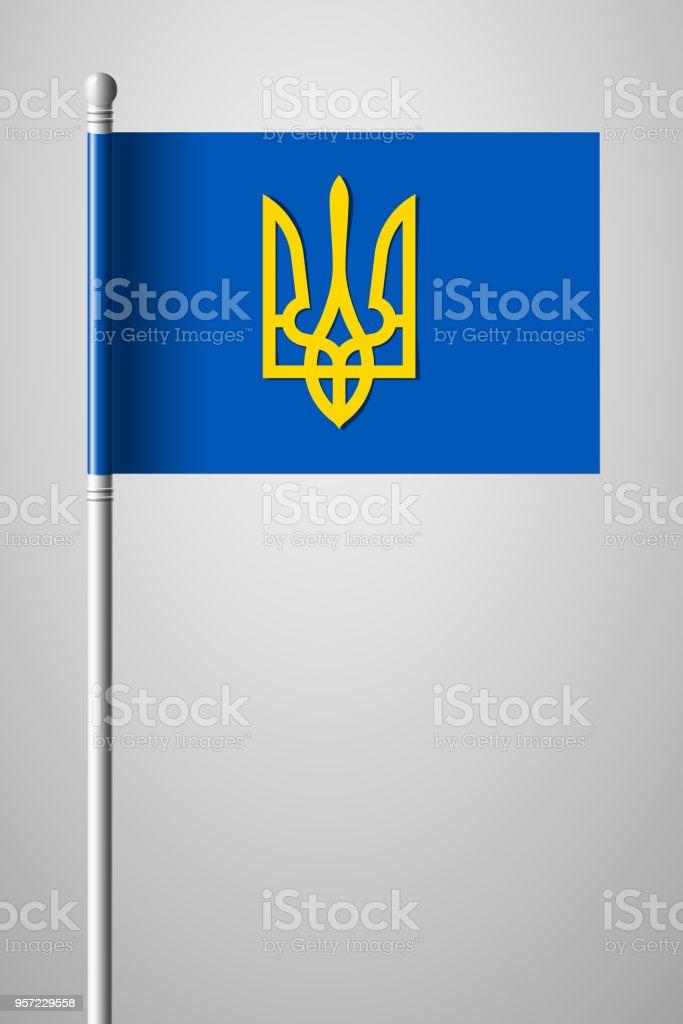 Tryzub Trident National Symbols Of Ukraine National Flag On Flagpole