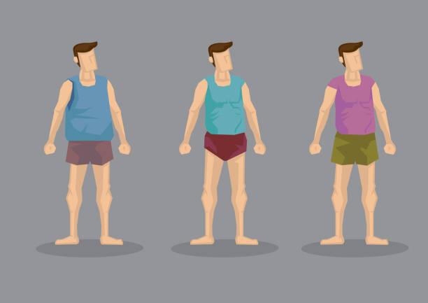 Bекторная иллюстрация T-shirt and Shorts Men Casual Clothing Vector Character Set