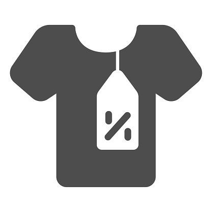 T-shirt and tag with discount percentage solid icon, Black Friday concept, shirt with label tag discount sign on white background, Cloth sale icon in glyph style. Vector graphics.