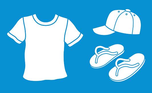 T-shirt, baseball cap, flip-flops thongs slippers.