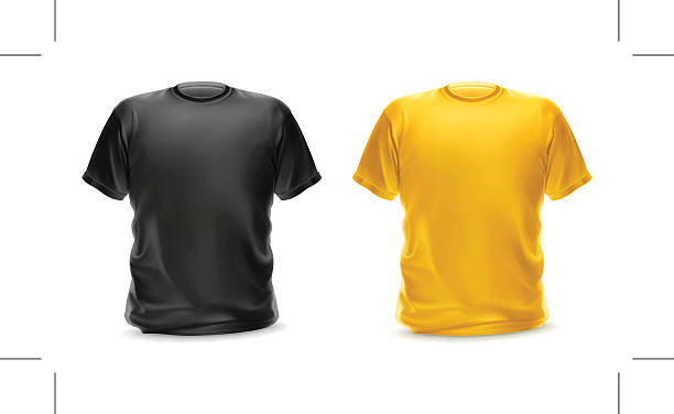 T-shirt black and yellow color, vector isolated object T-shirt black and yellow color, vector isolated object tank top stock illustrations