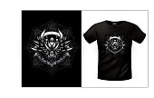 T-shirts with emblem of dragon in celtic ornamental frame. EPS 10file with shadows blur effect.
