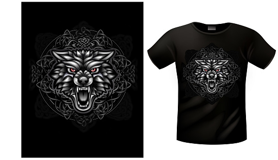 T-shirt Celtic wolf