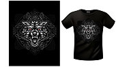T-shirts with emblem of wolf in celtic ornamental frame. EPS 10file with shadows blur effect.