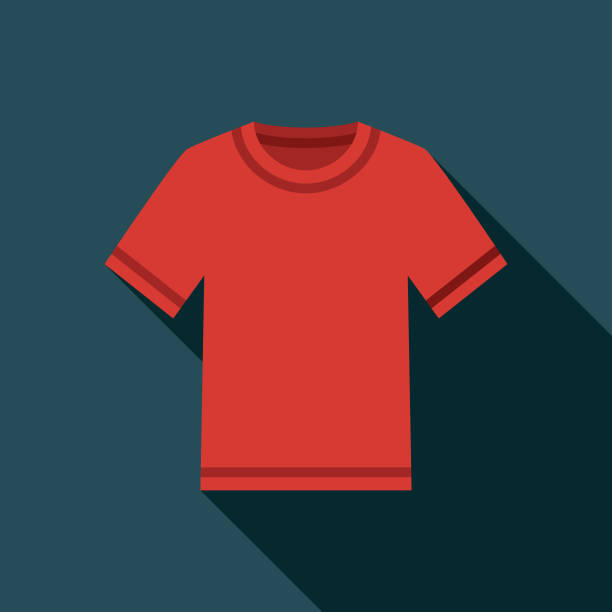 T-shirt Clothing & Accessories Icon A flat design icon with a long shadow. File is built in the CMYK color space for optimal printing. Color swatches are global so it's easy to change colors across the document. t shirt stock illustrations