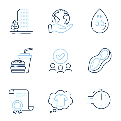 T-shirt, Cooking timer and Peanut icons set. Ph neutral, Hamburger and Buildings signs. Vector
