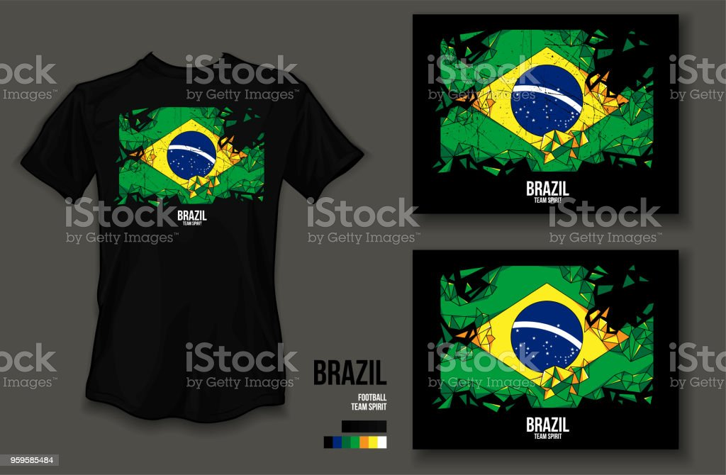 dcf51452d30 T-shirt design Brazil team spirit football sports wear on black background  and black t-shirt - Illustration .