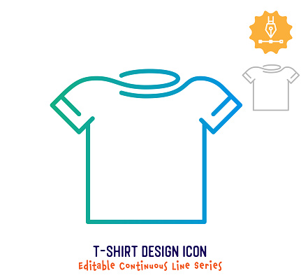 T-shirt Design Continuous Line Editable Stroke Line
