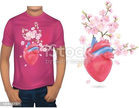 T-shirt design for a cherry blossom head design.