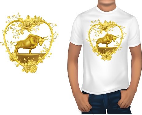 T-shirt design for printing with a gold ox.illustration vector