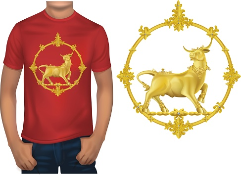 T-shirt design for printing with gold ox.illustration vector
