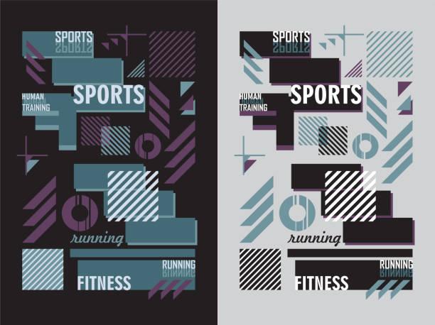 stockillustraties, clipart, cartoons en iconen met t-shirt sportbekleding design opleiding fitness op zwarte en grijze achtergrond - sportkleding
