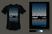 t-shirt design summer beach wave and sea wear on black background and black t-shirt