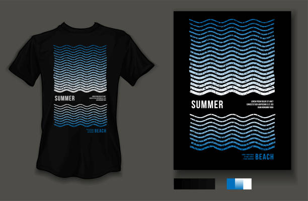 t-shirt design summer beach wave and sea wear on black background and black t-shirt - beach fashion stock illustrations, clip art, cartoons, & icons