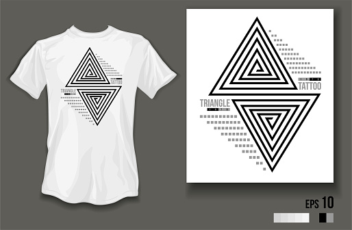 t-shirt design triangle tattoo wear on white t-shirt and white background