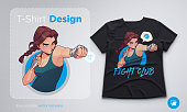 T-shirt design with angry boxing girl with boxing bandages. Anime style illustration