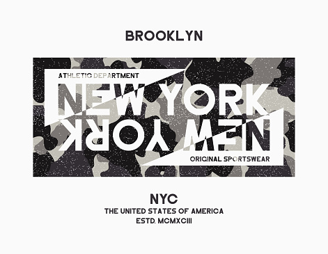 T-shirt design with camouflage texture for New York city. Brooklyn typography graphic for tee shirt with camo in military and army style.