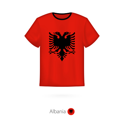 T-shirt design with flag of Albania.
