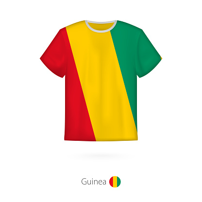 T-shirt design with flag of Guinea.