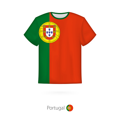 T-shirt design with flag of Portugal.
