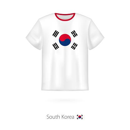 T-shirt design with flag of South Korea