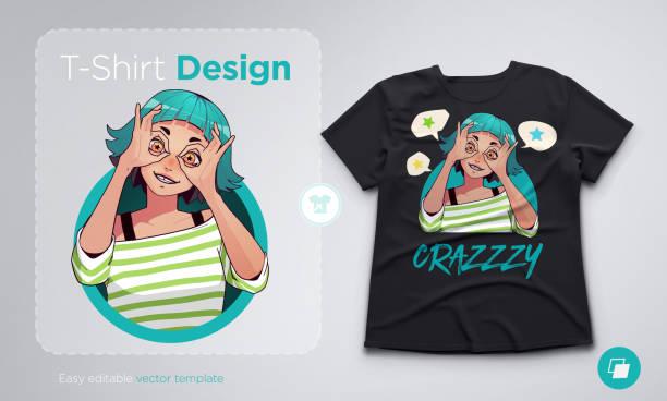 t-shirt design mit lustigen aufgeregt mädchen zeigen ok gesten mit beiden händen. anime-stil-abbildung - swag stock-grafiken, -clipart, -cartoons und -symbole