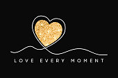 T-shirt design with glitter heart. Slogan love every moment, typography graphics for tee shirt with glittering shine texture in heart. One line inscription. Vector.